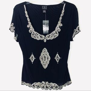INC Rhinestone and Sequin Embellished Party Top